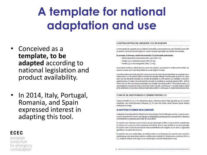 A template for national adaptation and use