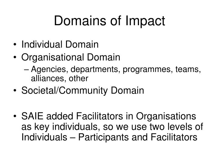 Domains of Impact