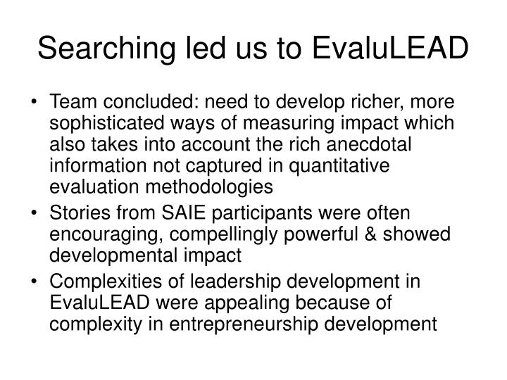 Searching led us to EvaluLEAD