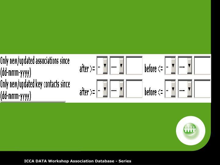 ICCA DATA Workshop Association Database - Series