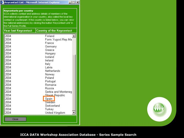 ICCA DATA Workshop Association Database - Series Sample Search