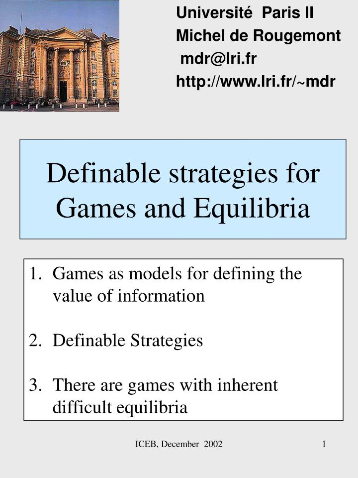definable strategies for games and equilibria n.