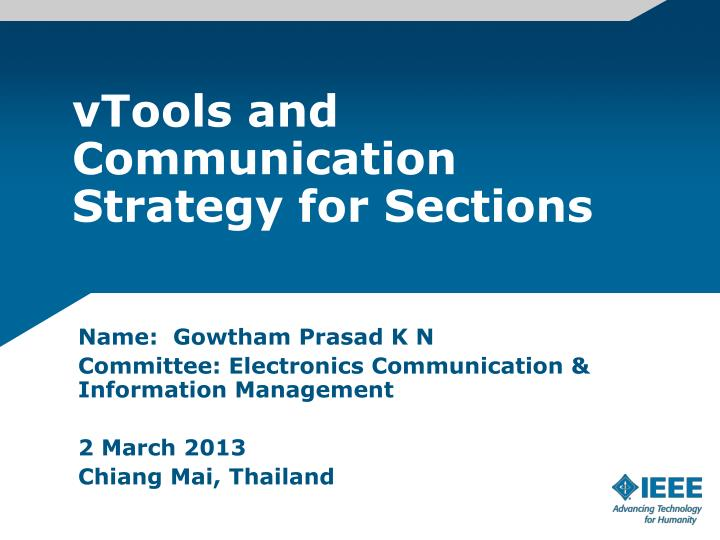 vtools and communication strategy for sections n.