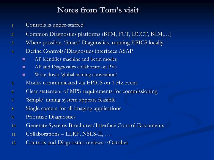 Notes from tom s visit