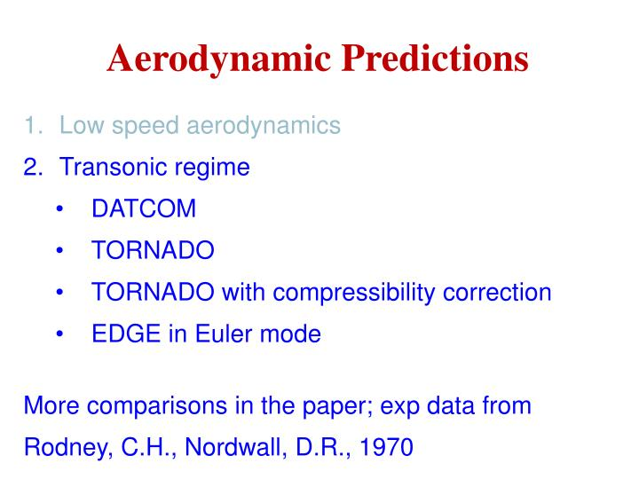 Aerodynamic Predictions