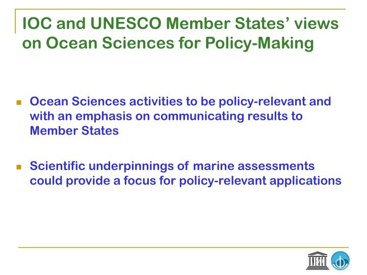 Ioc and unesco member states views on ocean sciences for policy making
