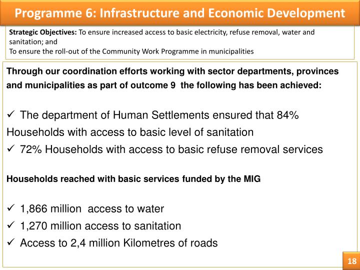 Programme 6: Infrastructure and Economic Development