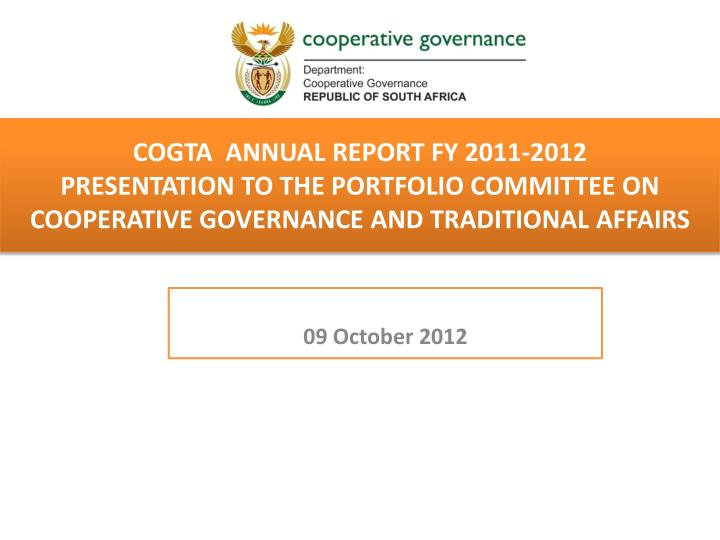 COGTA  Annual report FY 2011-2012