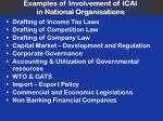 examples of involvement of icai in national organisations
