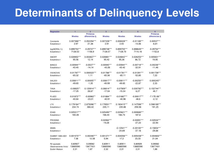 Determinants of Delinquency Levels