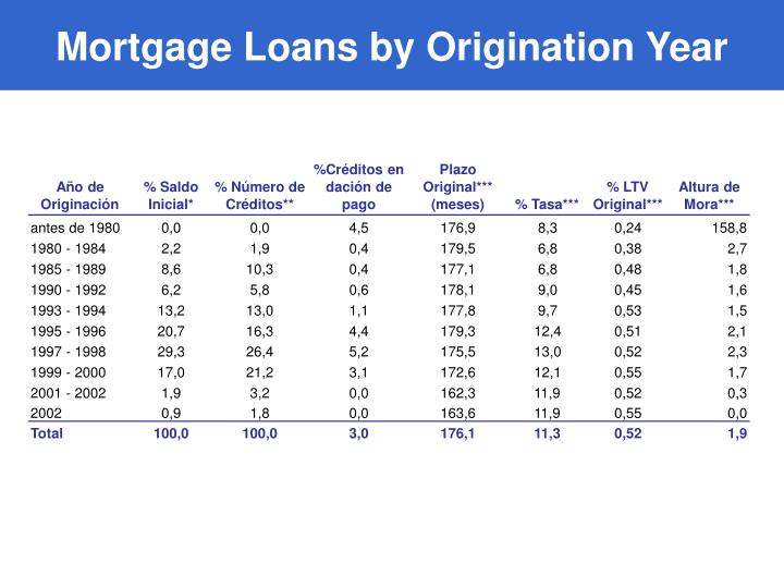 Mortgage Loans by Origination Year