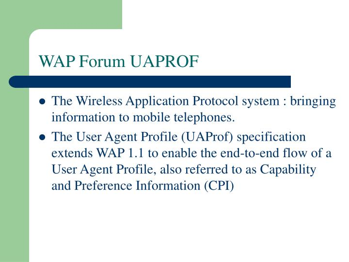 WAP Forum UAPROF