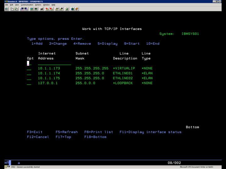 i5/OS – CFGTCP Volba 1