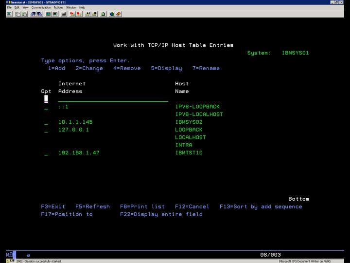 i5/OS – CFGTCP Volba 10