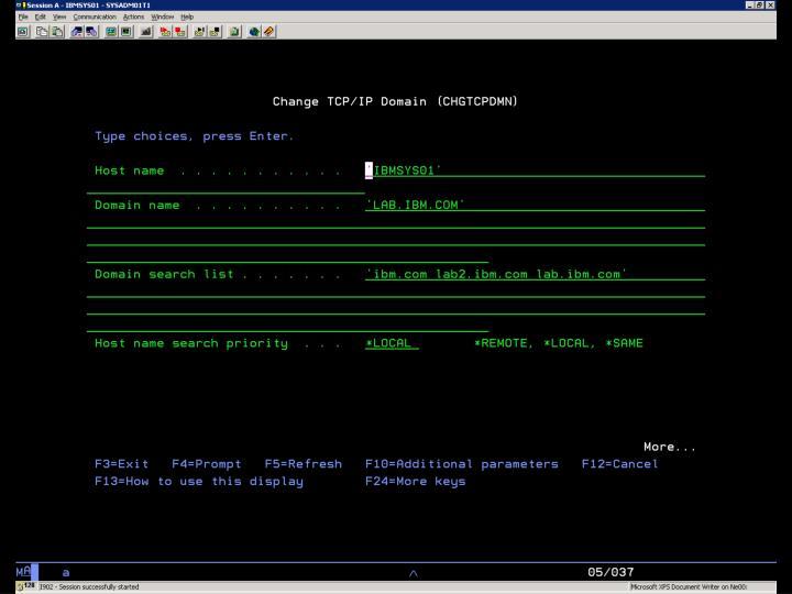 i5/OS  – CFGTCPDMN 1/2