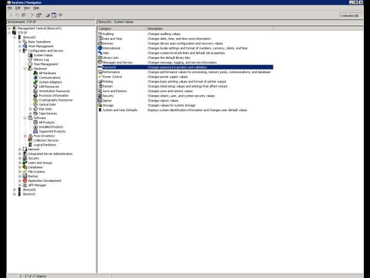 i5/OS – Navigátor – SYSVAL Obr. 1