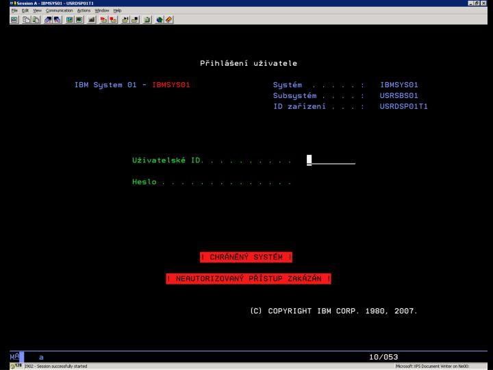 i5/OS  –  Přihlášení uživatele