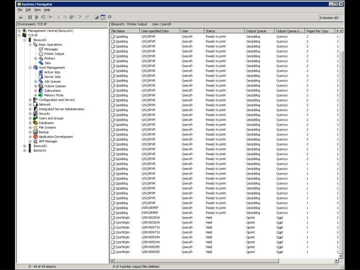 i5/OS –  Tiskový výstup Navigátor Obr. 1