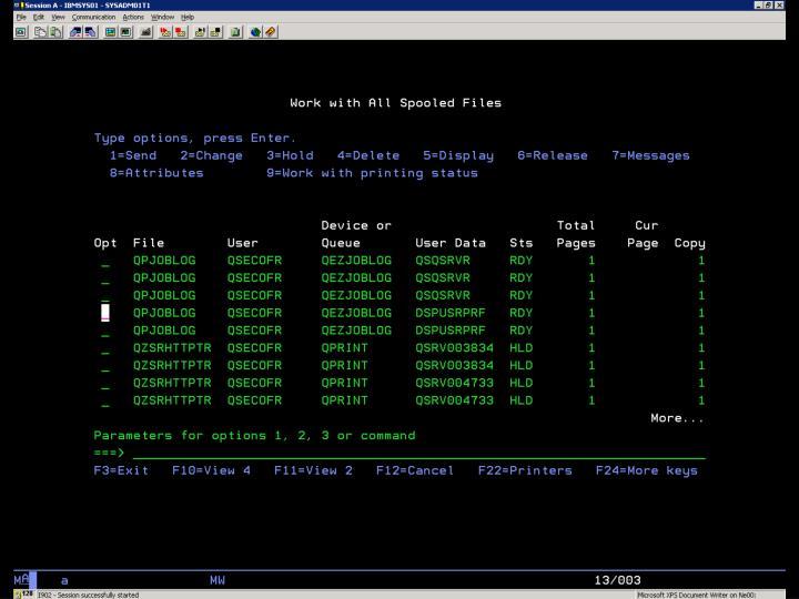 i5/OS –  Tiskový výstup Obr. 1