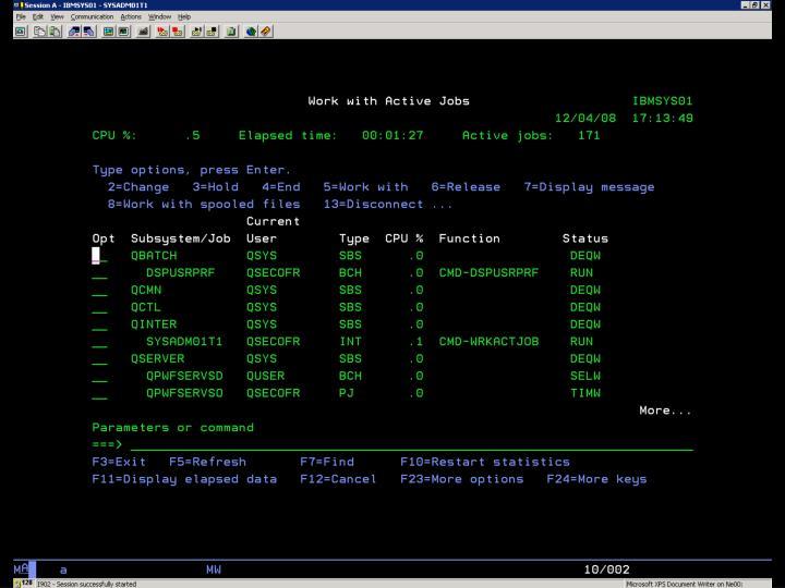 i5/OS –  WRKACTJOB – Default