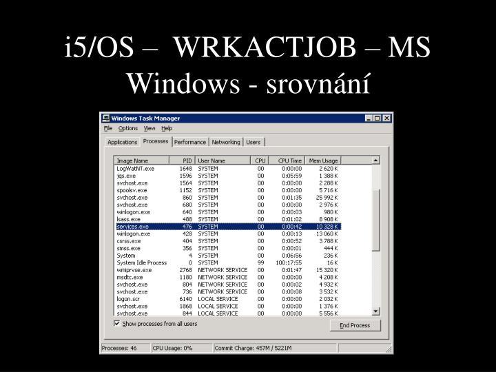 i5/OS –  WRKACTJOB – MS Windows - srovnání