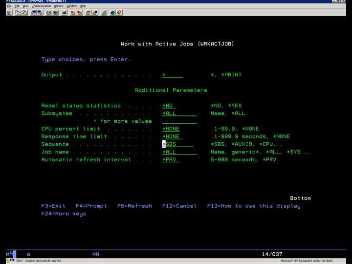 i5/OS –  WRKACTJOB – Ukázka 1