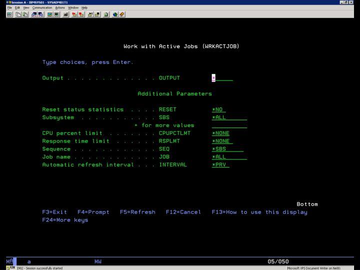 i5/OS –  WRKACTJOB – Ukázka 2