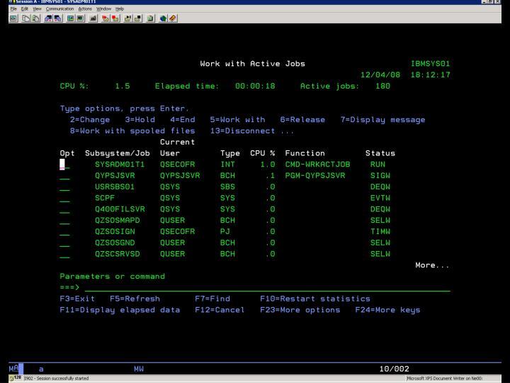 i5/OS –  WRKACTJOB – Ukázka 5
