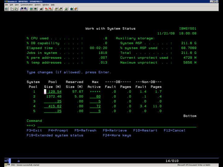 i5/OS –  WRKSYSSTS