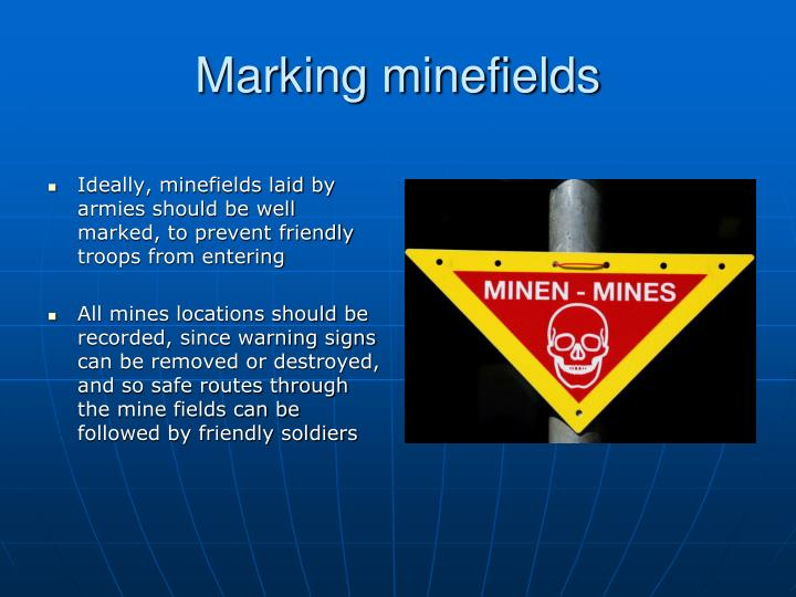 Marking minefields