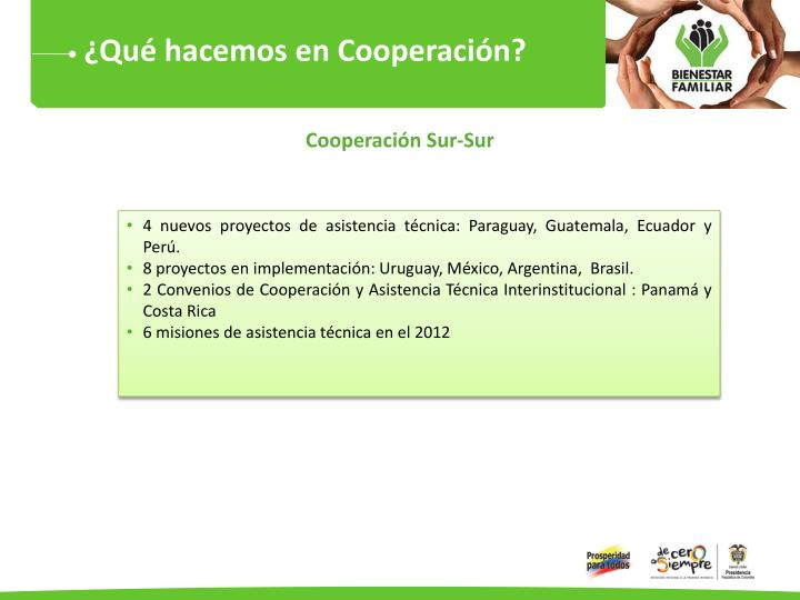 ¿Qué hacemos en Cooperación?