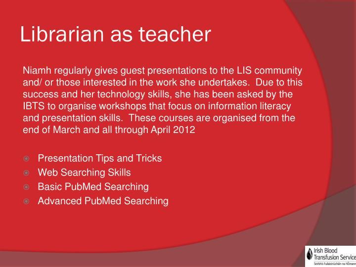 Librarian as teacher
