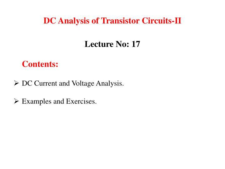 Dc analysis of transistor circuits ii