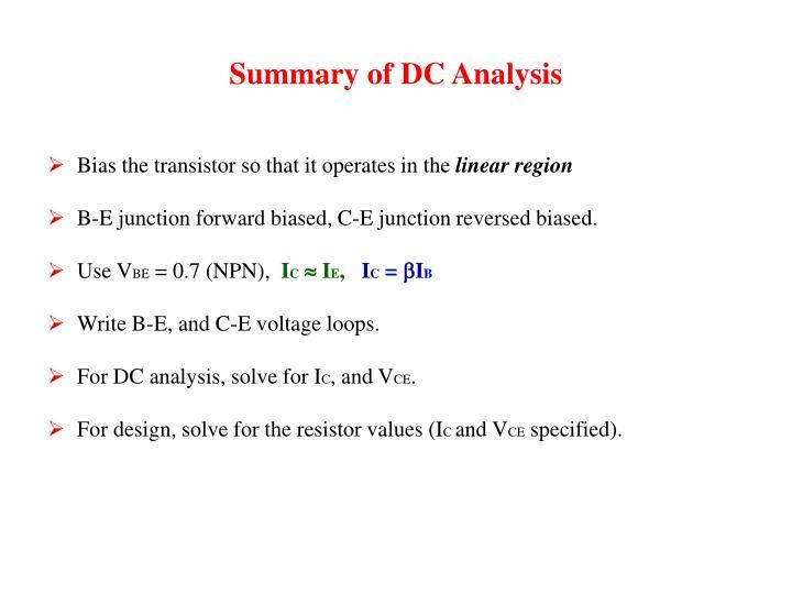 Summary of DC