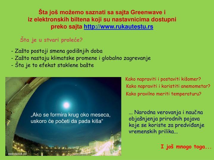 Šta još možemo saznati sa sajta Greenwave i