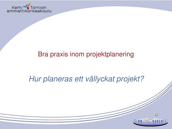 bra praxis inom projektplanering n.