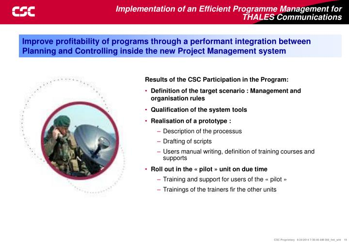 Results of the CSC Participation in the Program:
