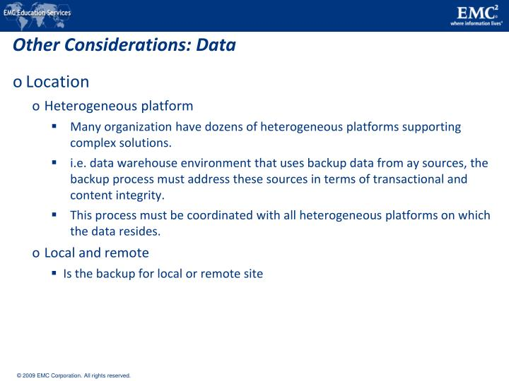 Other Considerations: Data