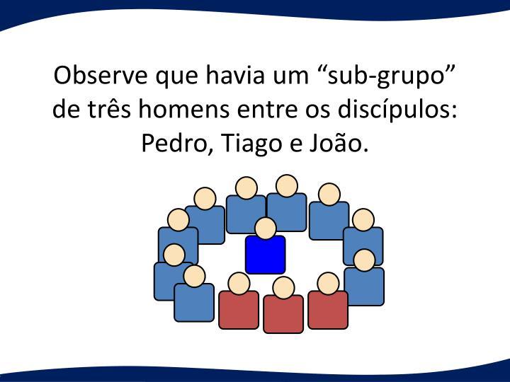 """Observe que havia um """"sub-grupo"""" de três homens entre os discípulos:"""