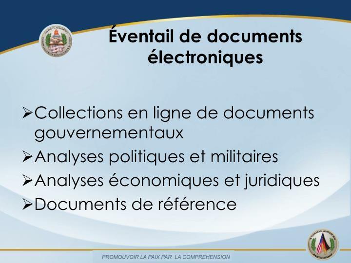Éventail de documents électroniques