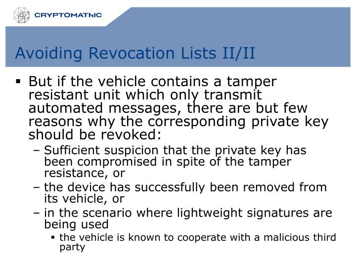 Avoiding Revocation Lists II/II