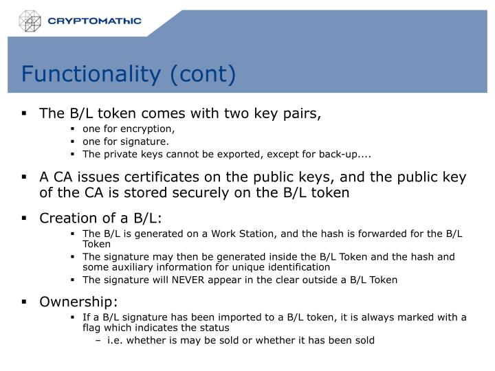 Functionality (cont)