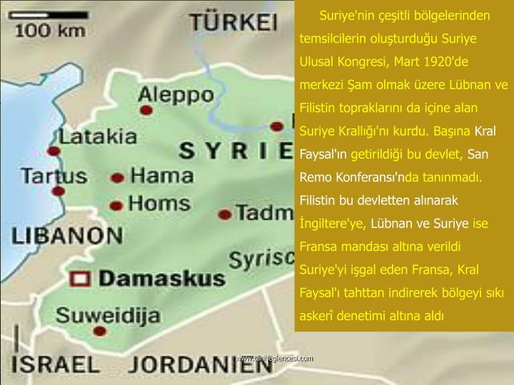 Suriye'nin çeşitli bölgelerinden temsilcilerin oluşturduğu Suriye Ulusal Kongresi, Mart 1920'de merkezi Şam olmak üzere Lübnan ve Filistin topraklarını da içine alan Suriye Krallığı'nı kurdu. Başına