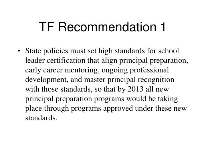 TF Recommendation 1