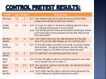 control pretest results