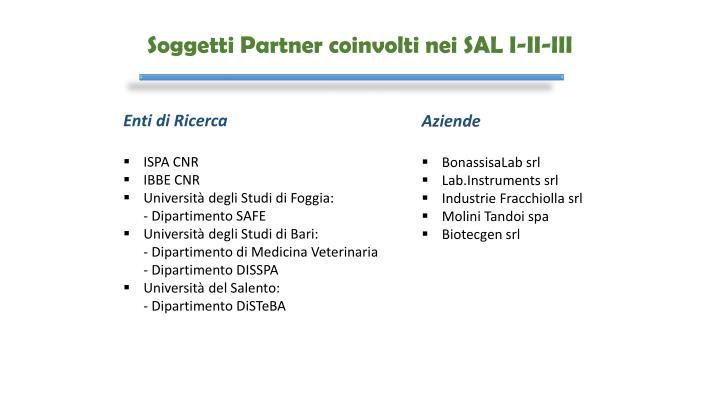 Soggetti Partner coinvolti nei SAL I-II-III