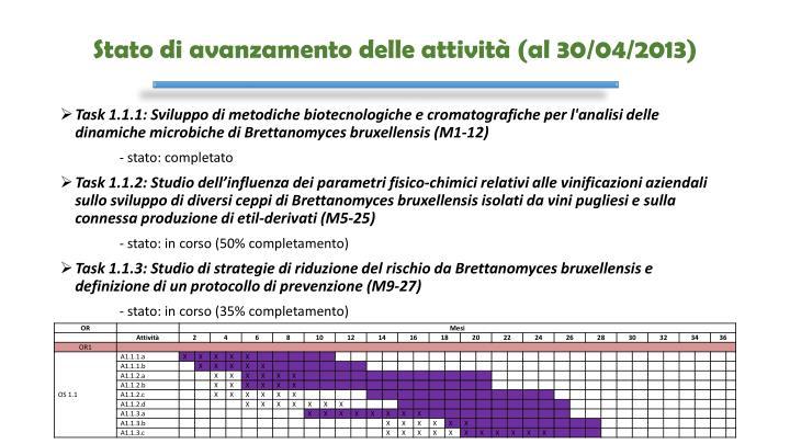 Stato di avanzamento delle attività (al 30/04/2013)