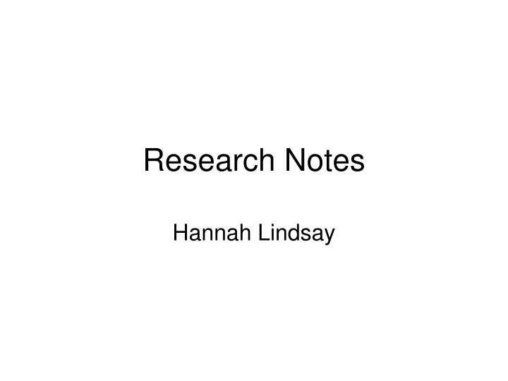 hannah english notes