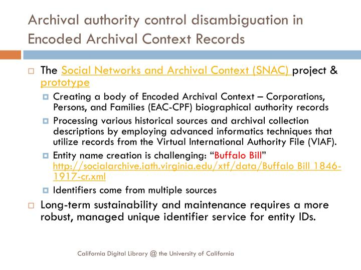 Archival authority control disambiguation in Encoded Archival Context Records