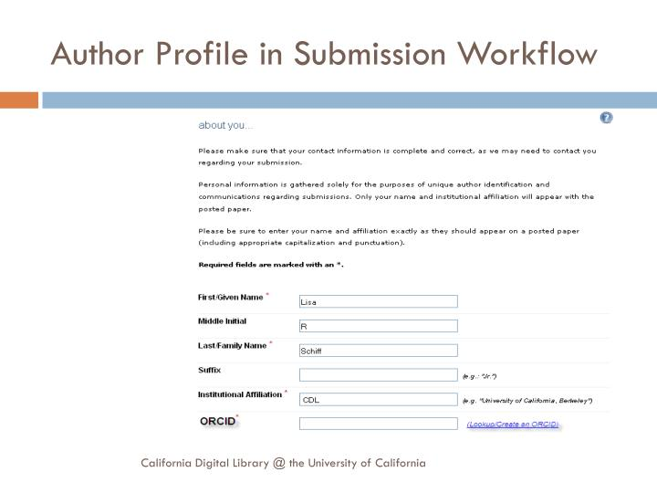 Author Profile in Submission Workflow